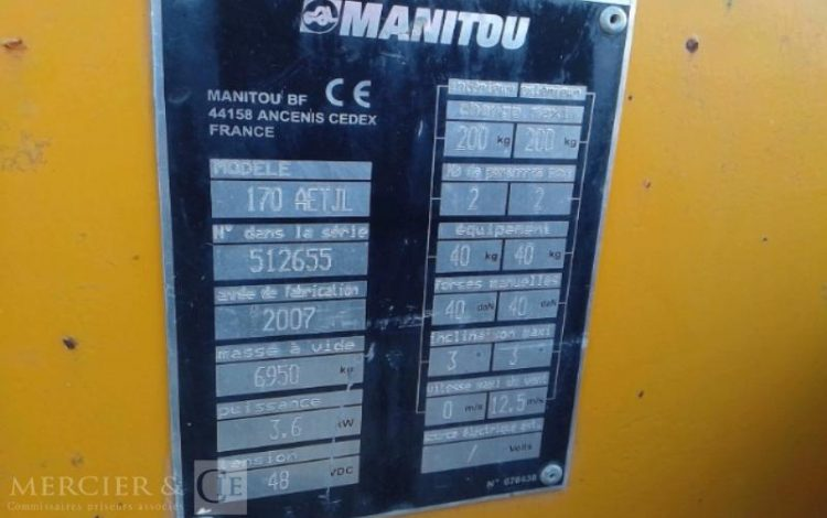 MANITOU NACELLE ARTICULEE ELECT 170 AETJ 17M DE 2007 JAUNE ELE10027