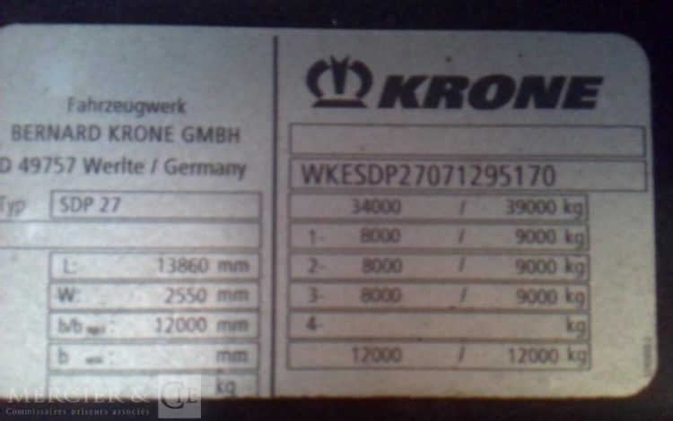 KRONE SEMI REMORQUE  FQ-233-KX