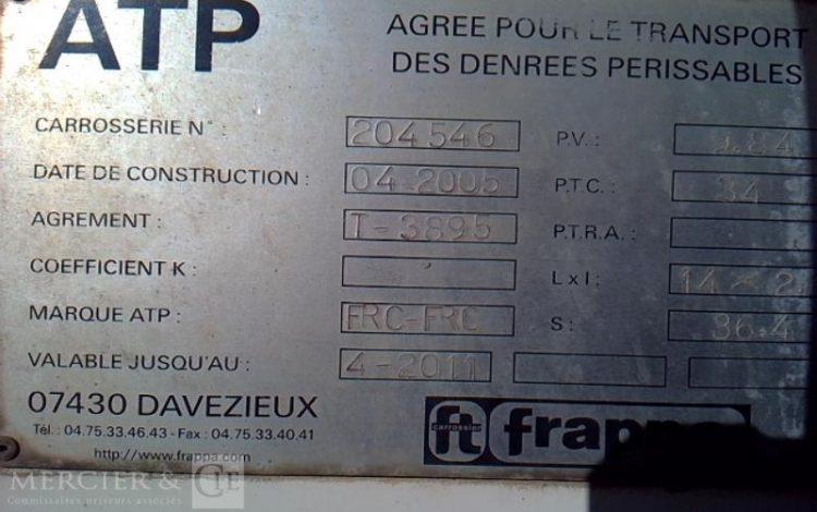 FRAPPA SEMI REMORQUE CAISSE AMENAGE 3 ESS 34T HAYON BLANC AP-813-HL