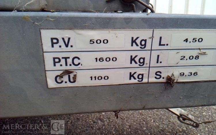 HUBIERE REMORQUE ENGINS 1t3 ALU BW-145-PK
