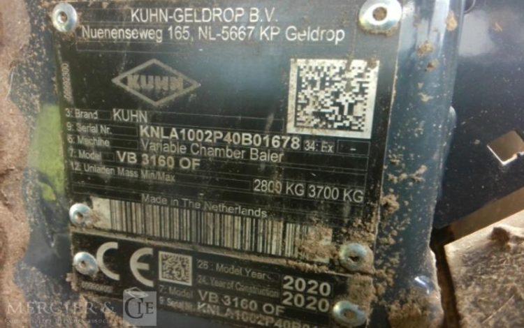 KUHN PRESSE A BALLES RONDES VB 3160 OF ORA VB3160